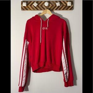 I am Gia Red & white hoodie